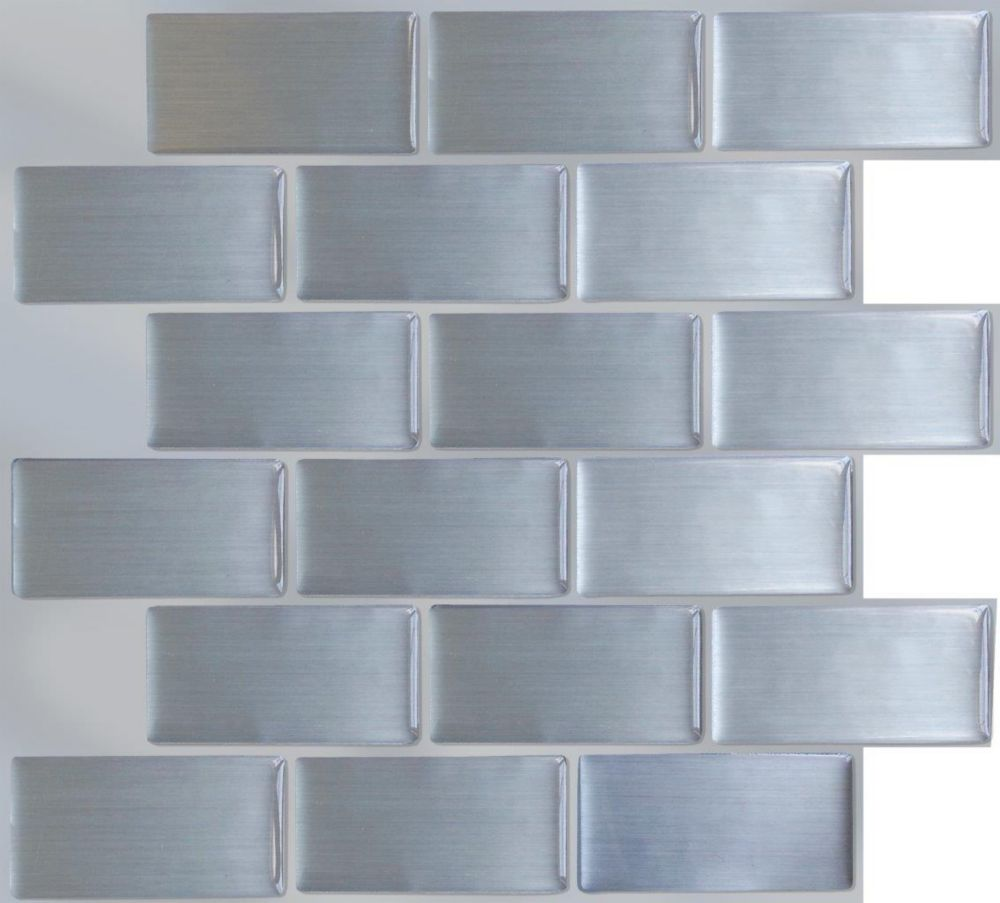 Self Stick Metal Backsplash Tiles Home Depot Metal Tile: Stick-It Tiles Steel Subway Peel And Stick-It Tile 11