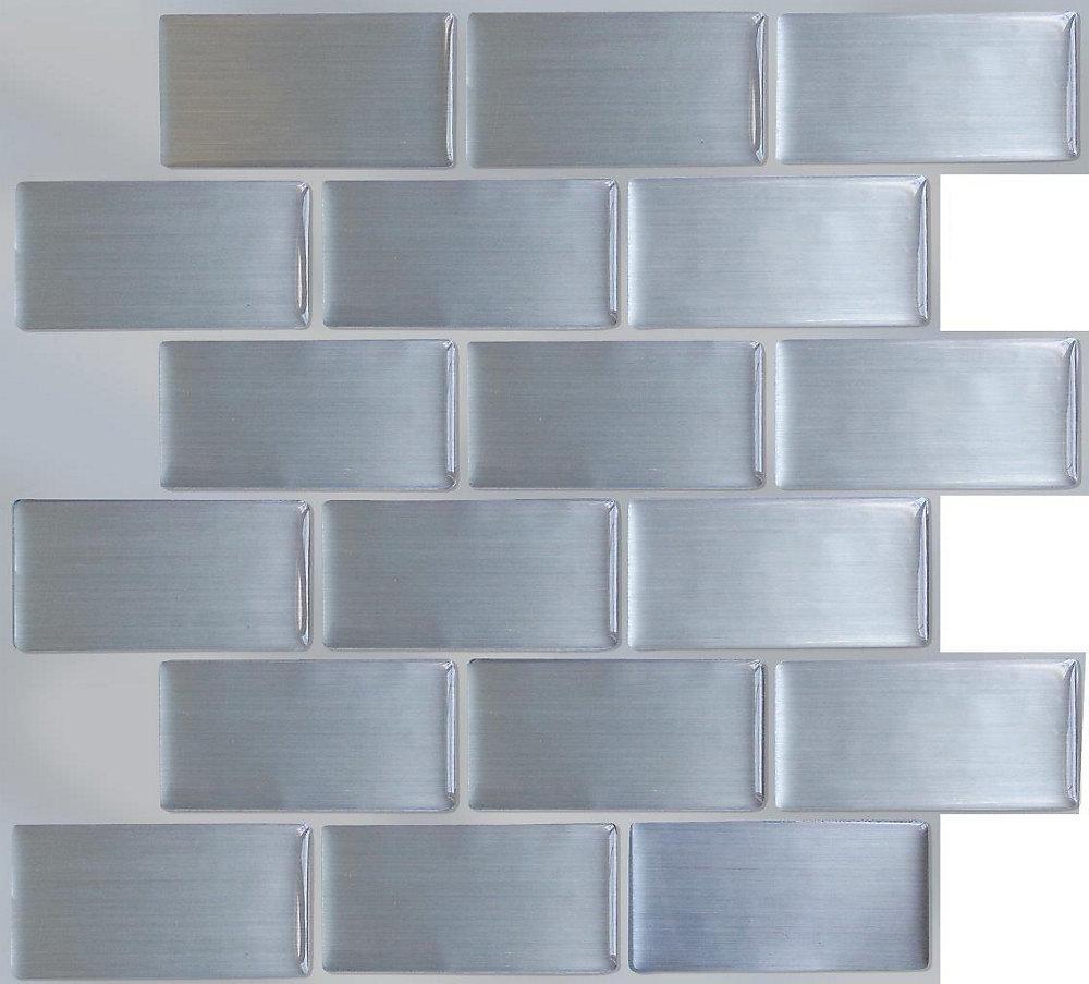 Prime Steel Subway Peel And Stick It Tile 11 25X10 Bulk Pack 8 Tiles Download Free Architecture Designs Jebrpmadebymaigaardcom