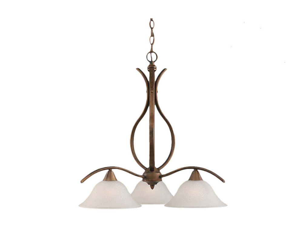 Concord 3-Light Ceiling Bronze Chandelier with a Dew Drop Glass