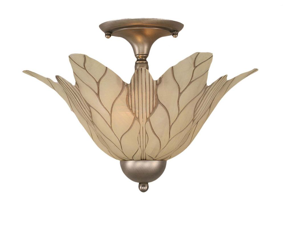 Concord 2 Light Ceiling Brushed Nickel Incandescent Semi Flush with a Vanilla Leaf Glass
