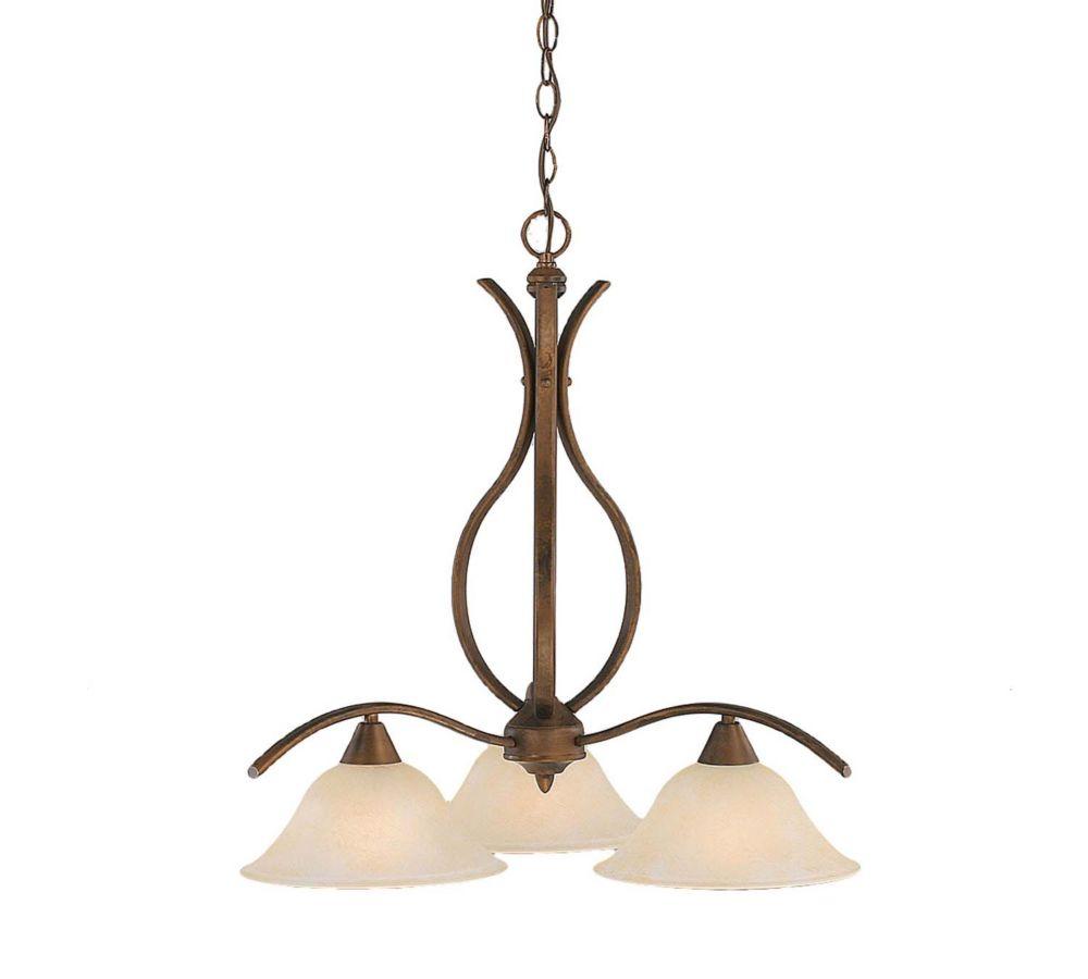 Concord 3 lumières plafond Bronze Lustre incandescence par un verre ambre