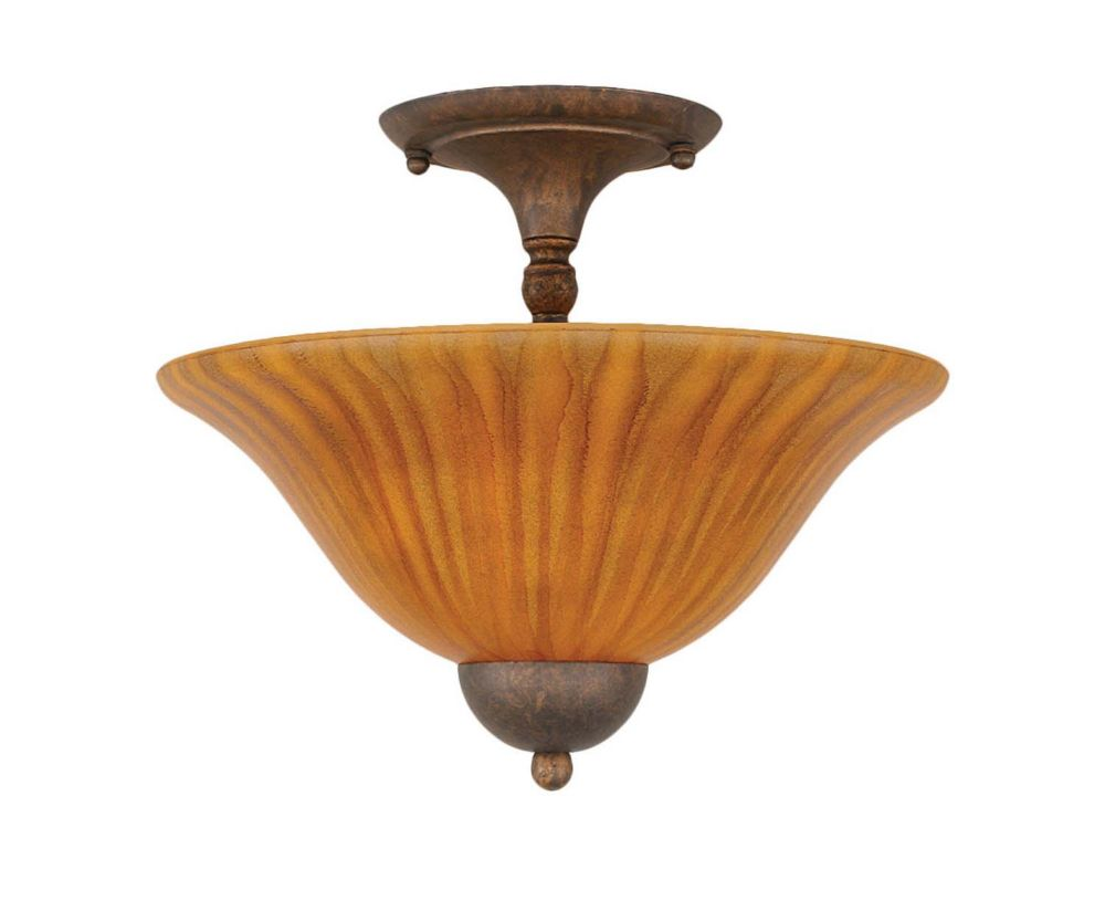 Concord 2 Light Ceiling Bronze Incandescent Semi Flush with a Tiger Glass