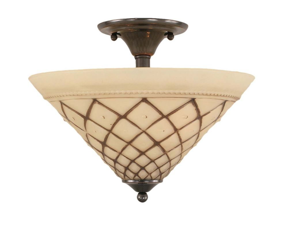 Concord 2-Light Ceiling Black Copper Semi Flush with a Chocolate Icing Glass