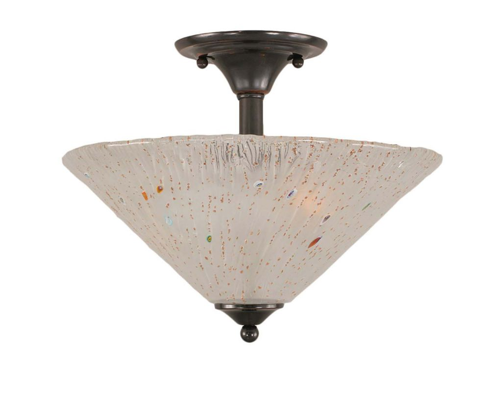 Filament Design Concord 2 Light Ceiling Black Copper Incandescent Semi Flush with a Frosted Crystal Glass