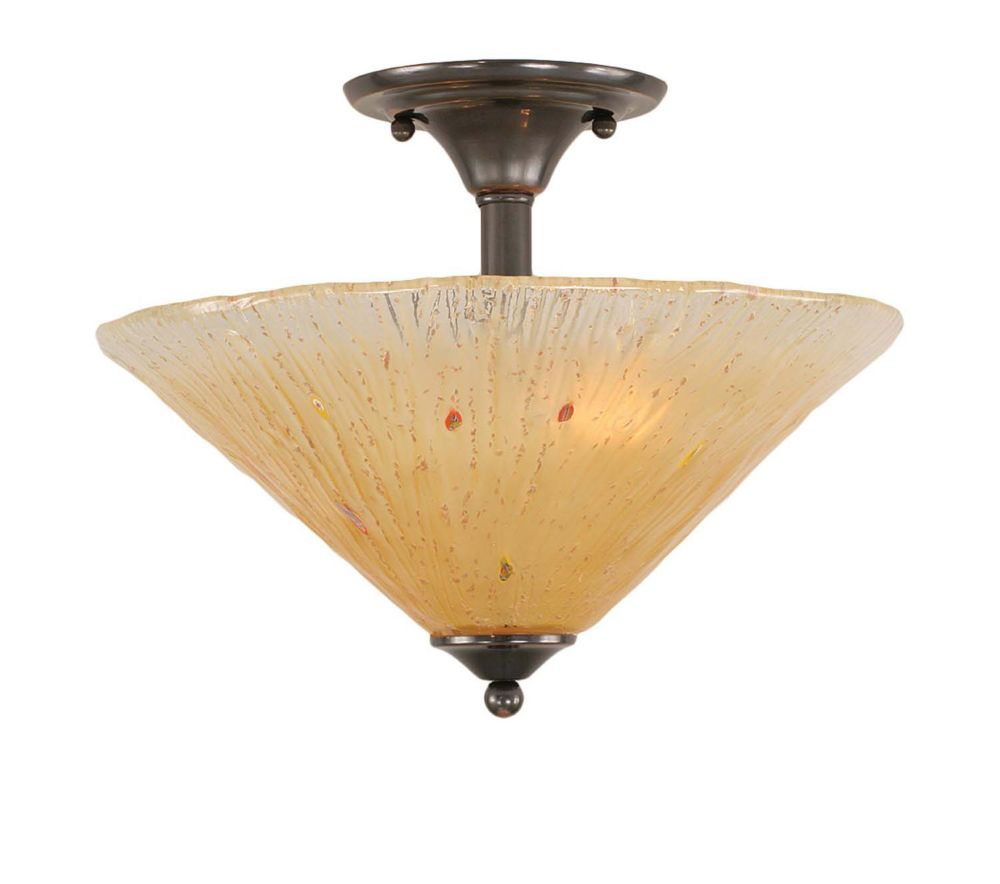 Concord 2-Light Black Copper Semi-Flushmount Ceiling Light Fixture with an Amber Glass Shade