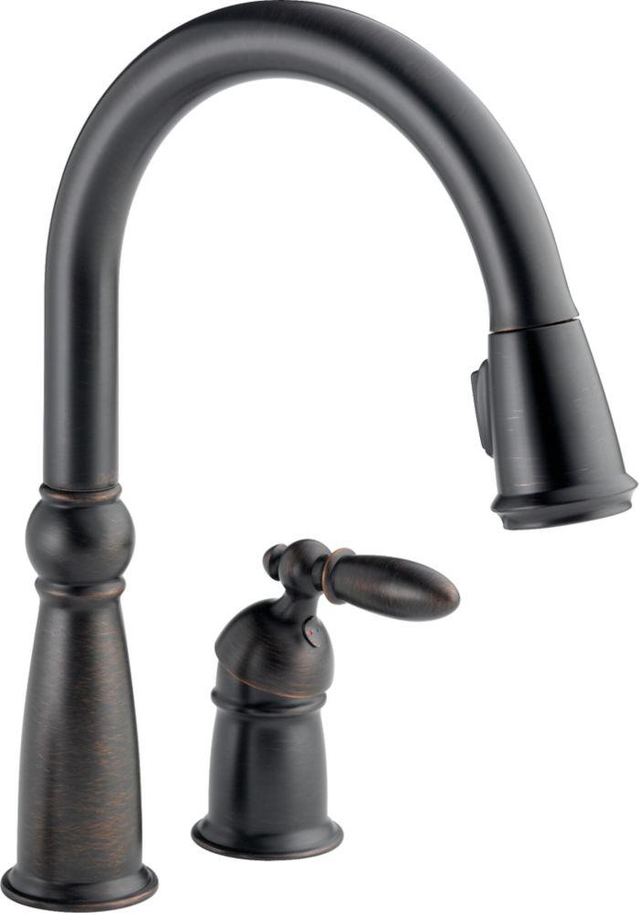 Victorian Single-Handle Pull-Down Sprayer Kitchen Faucet in Venetian Bronze featuring MagnaTite D...