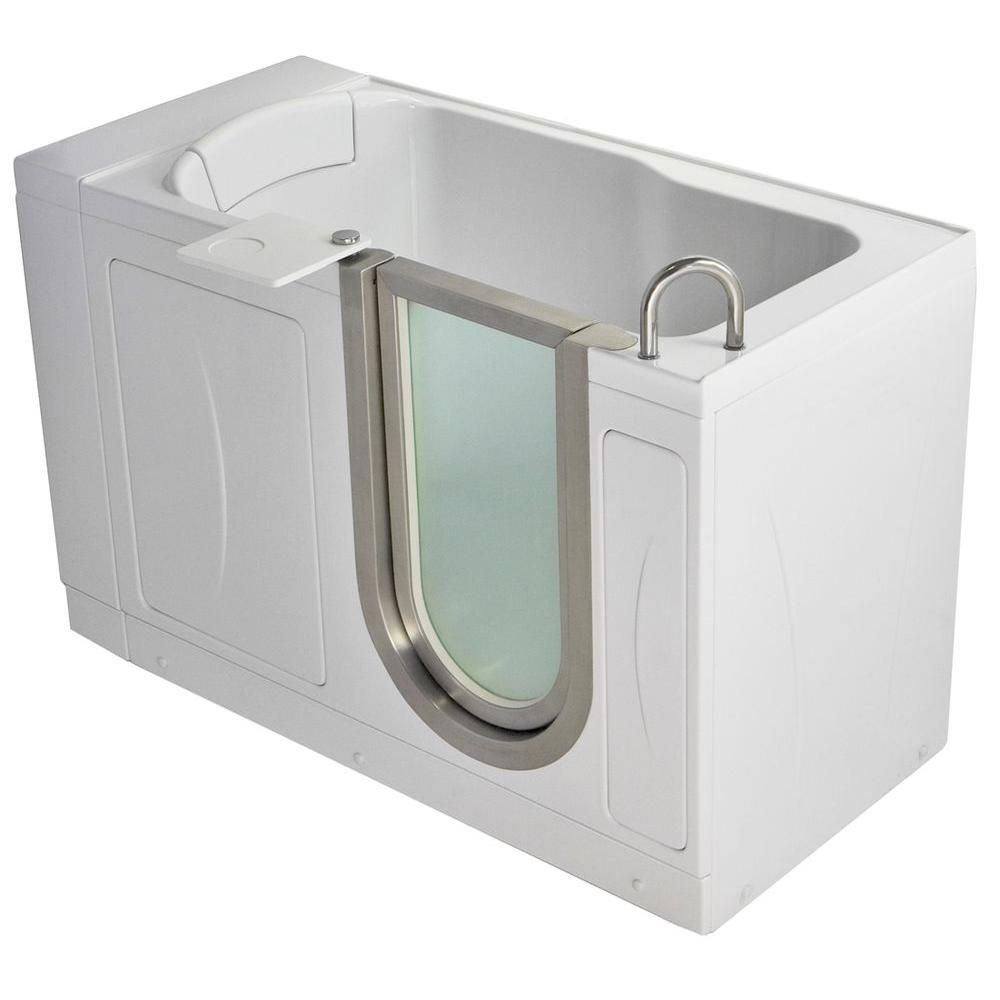 Ella Petite 4 Feet 4-Inch Walk-In Non Whirlpool Bathtub in White with Swivel Tray