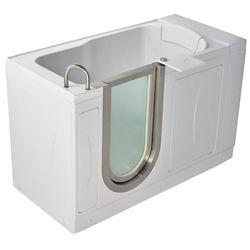 Ella Petite 4 Feet 4-Inch Walk-In Non Whirlpool Bathtub in White with Swivel Tray
