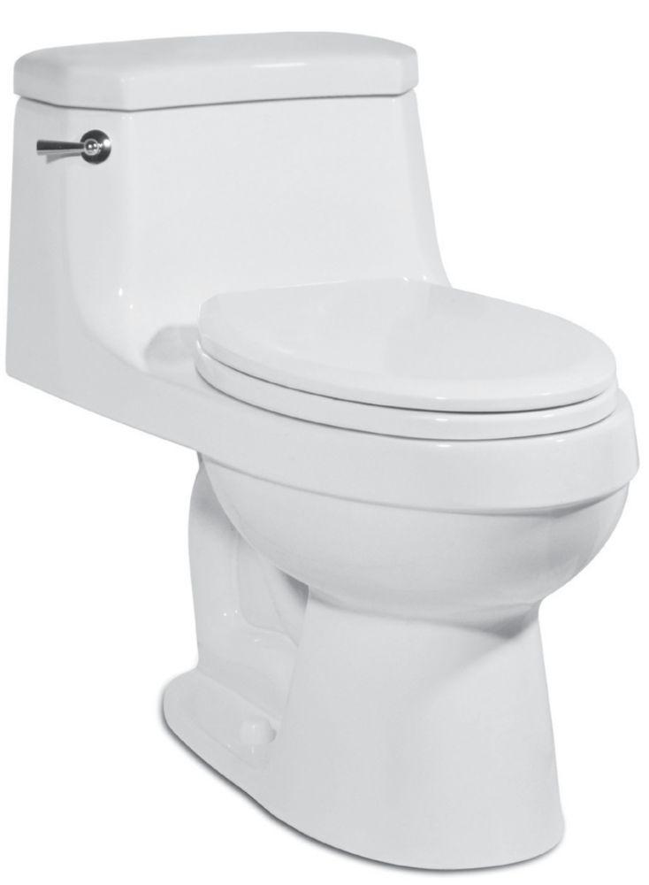 The Palermo 1-piece 4.8 LPF Single Flush Elongated Bowl Toilet in White