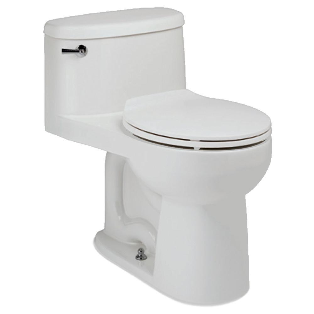 The Malibu 1-piece 4.8 LPF Single Flush Round Bowl Toilet in White