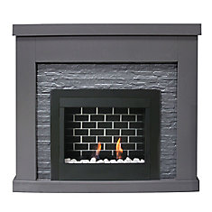 Highland Gel Fuel Fireplace with Faux Stone Surround