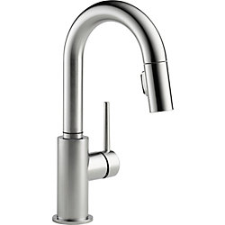 Trinsic Single Handle Pull-Down Bar Faucet in Arctic Stainless Steel