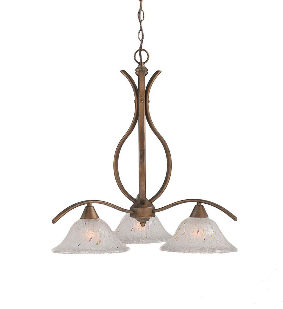 Concord 3-Light Ceiling Bronze Chandelier with a Frosted Crystal Glass