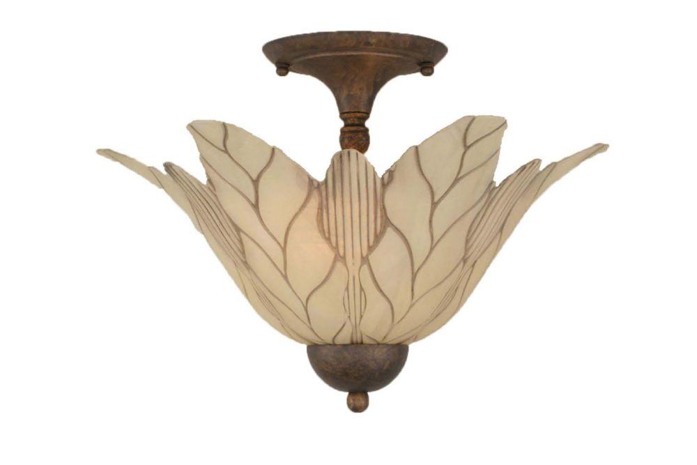 Concord 2 Light Ceiling Bronze Incandescent Semi Flush with a Vanilla Leaf Glass