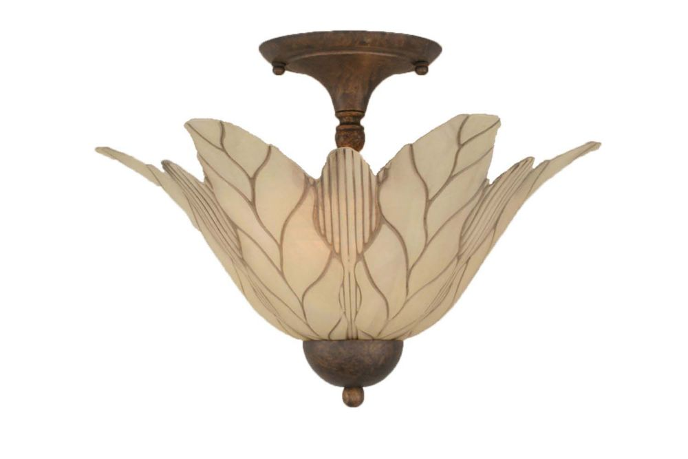 Concord 2-Light Ceiling Bronze Semi Flush with a Vanilla Leaf Glass