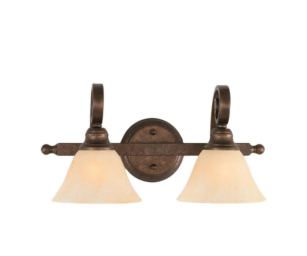 Concord 2-Light Wall Bronze Bath Vanities with an Amber Glass