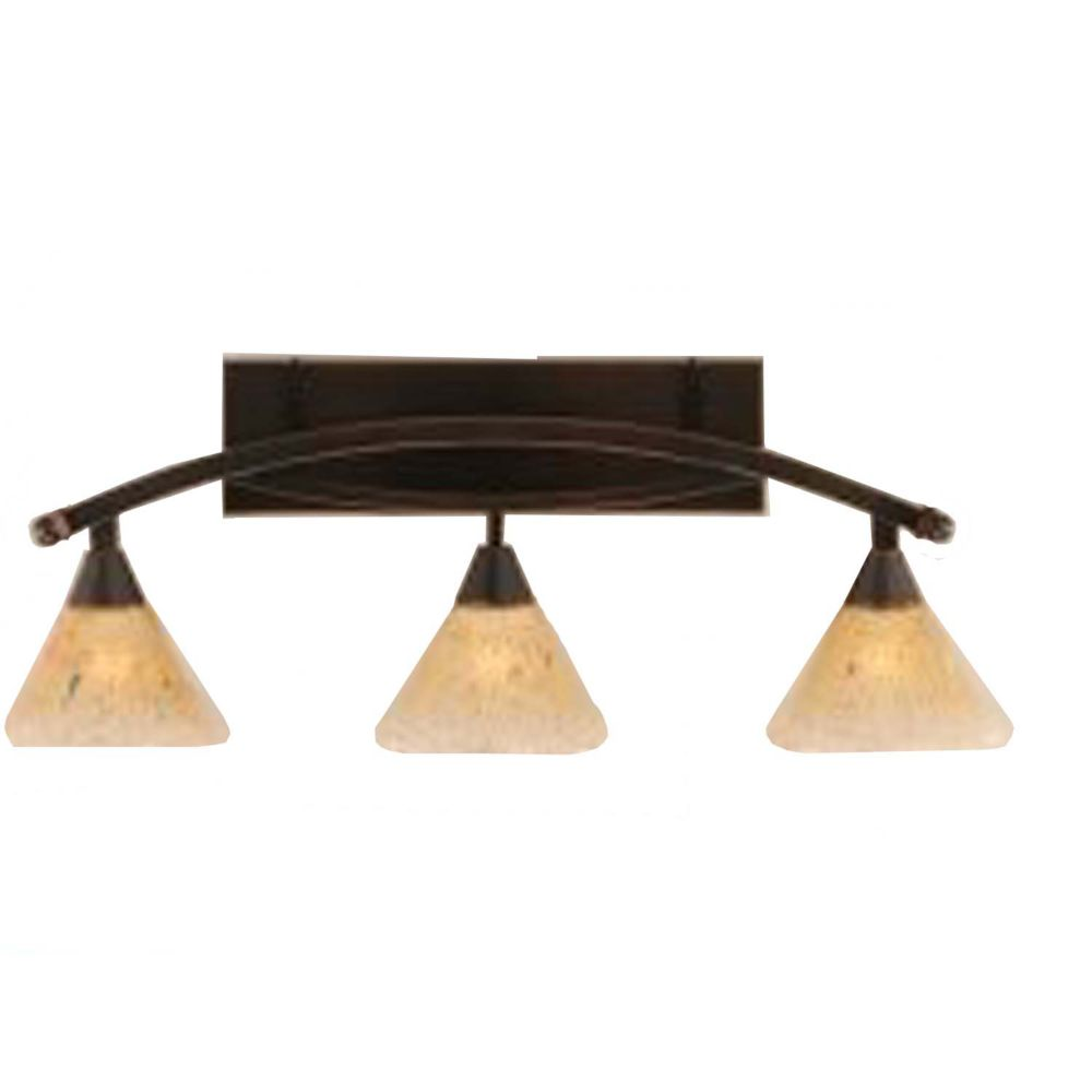 Concord 3-Light Wall Black Copper Bath Vanities with an Amber Glass
