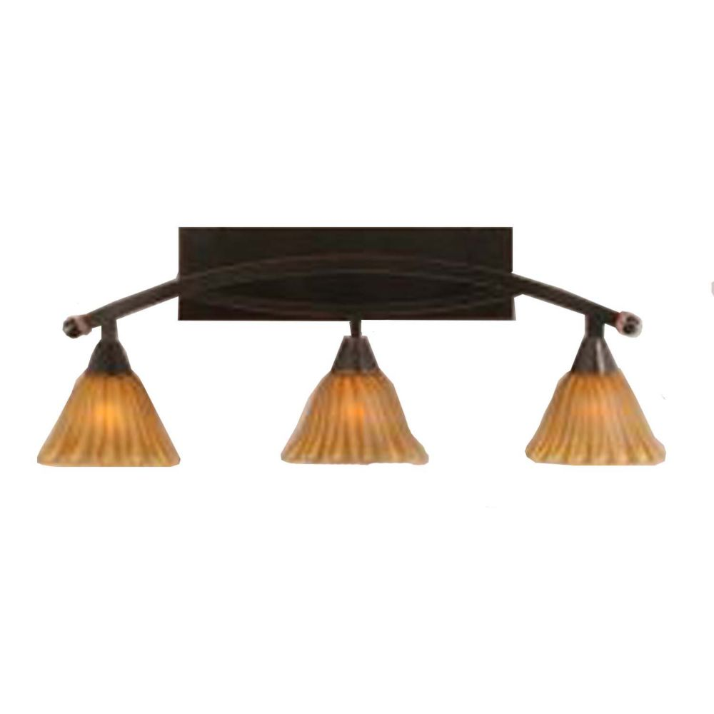 Concord 3-Light Wall Black Copper Bath Vanities with a Tiger Glass