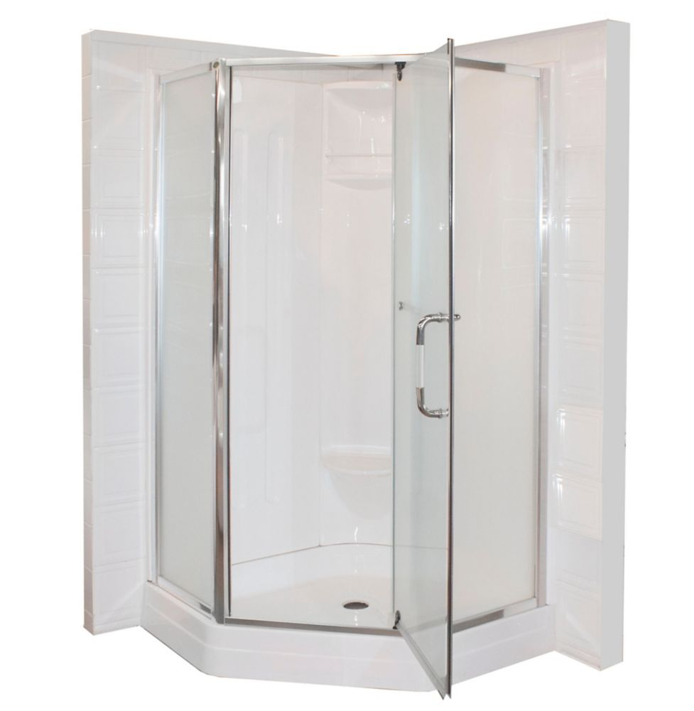 Malta Bath Contractor 38Inchx38Inch Neo Angle Pivot Shower Door (Base and Walls not Included)
