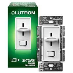 Lutron Skylark 2 1/4-inch x 4 1/2-inch 150W Single Pole/3-Way CFL/LED Dimmer in White