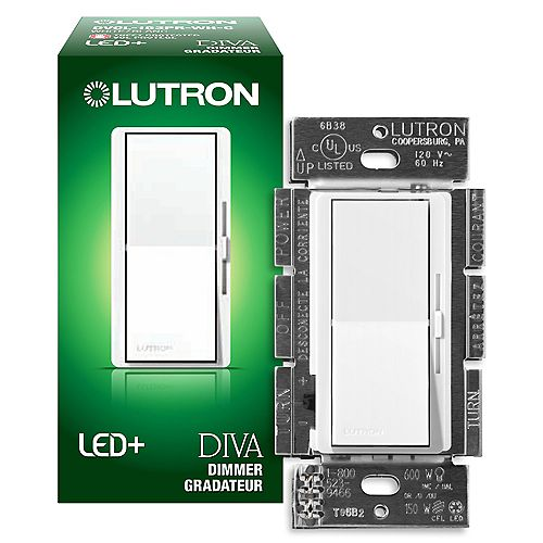 Lutron Diva LED+ Dimmer Switch for Dimmable LED/Halogen/Incandescent Bulbs, Single-Pole or 3-Way, White