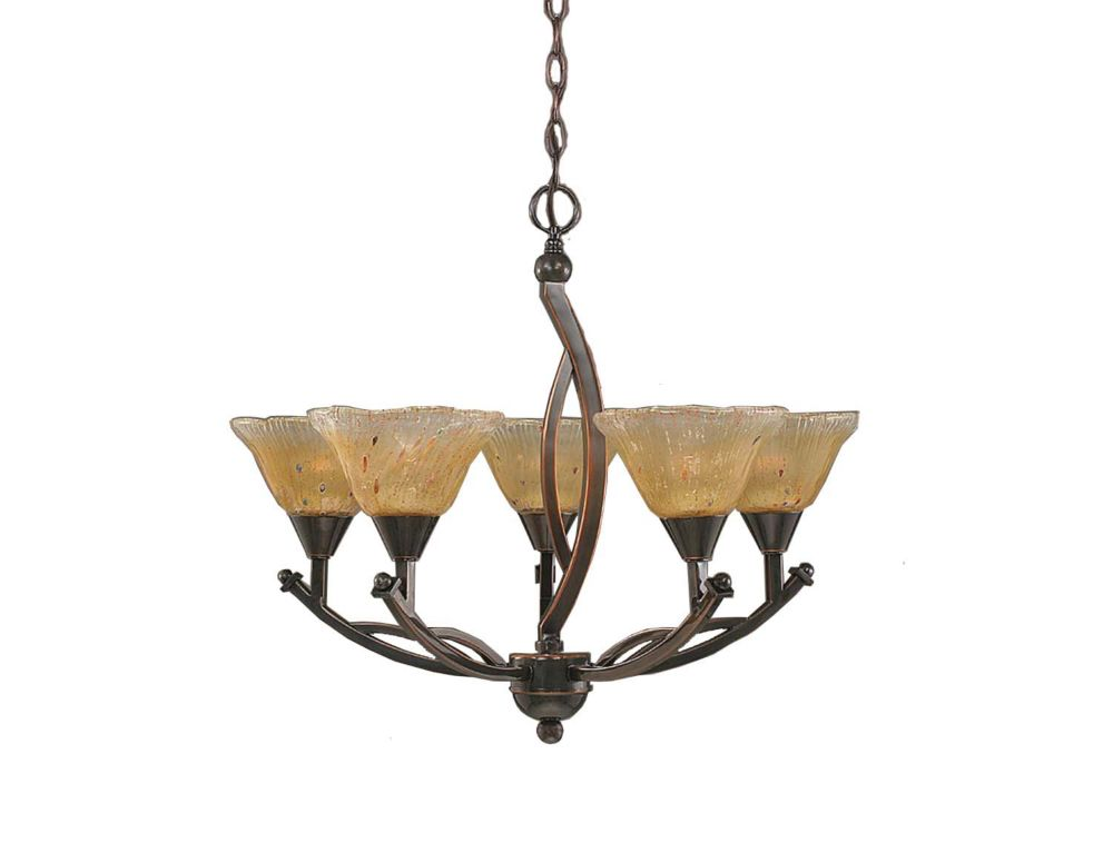 Concord 5-Light Ceiling Black Copper Chandelier with an Amber Glass