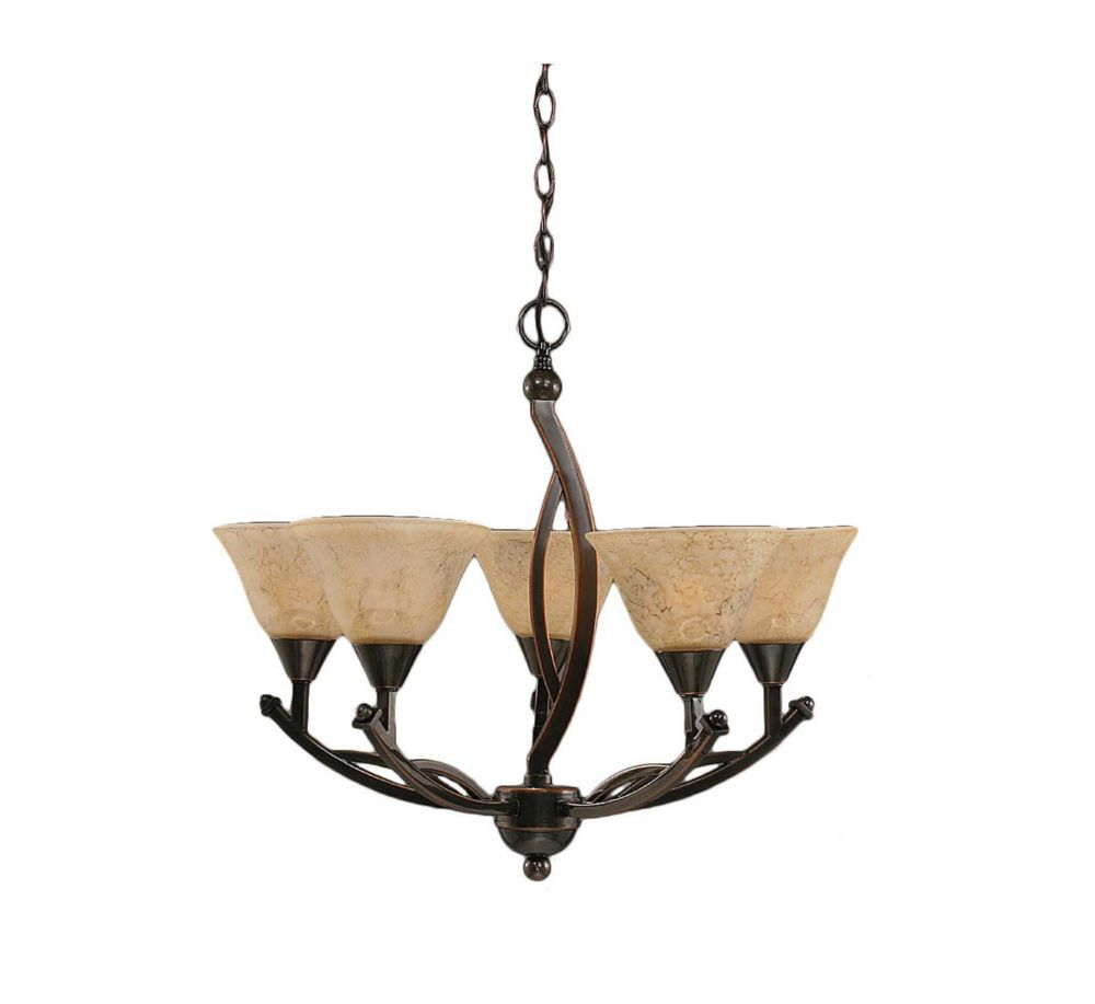 Concord 5-Light Ceiling Black Copper Chandelier with an Italian Marble Glass