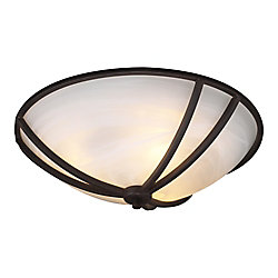 Contemporary Beauty 2 Light Flush Mount with Marbleized Glass and Oil Rubbed Bronze Finish
