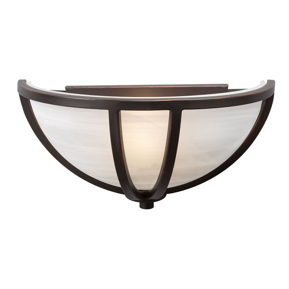 1 Light Sconce with Marbleized Glass and Oil Rubbed Bronze Finish
