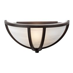 Contemporary Beauty 1 Light Sconce with Marbleized Glass and Oil Rubbed Bronze Finish