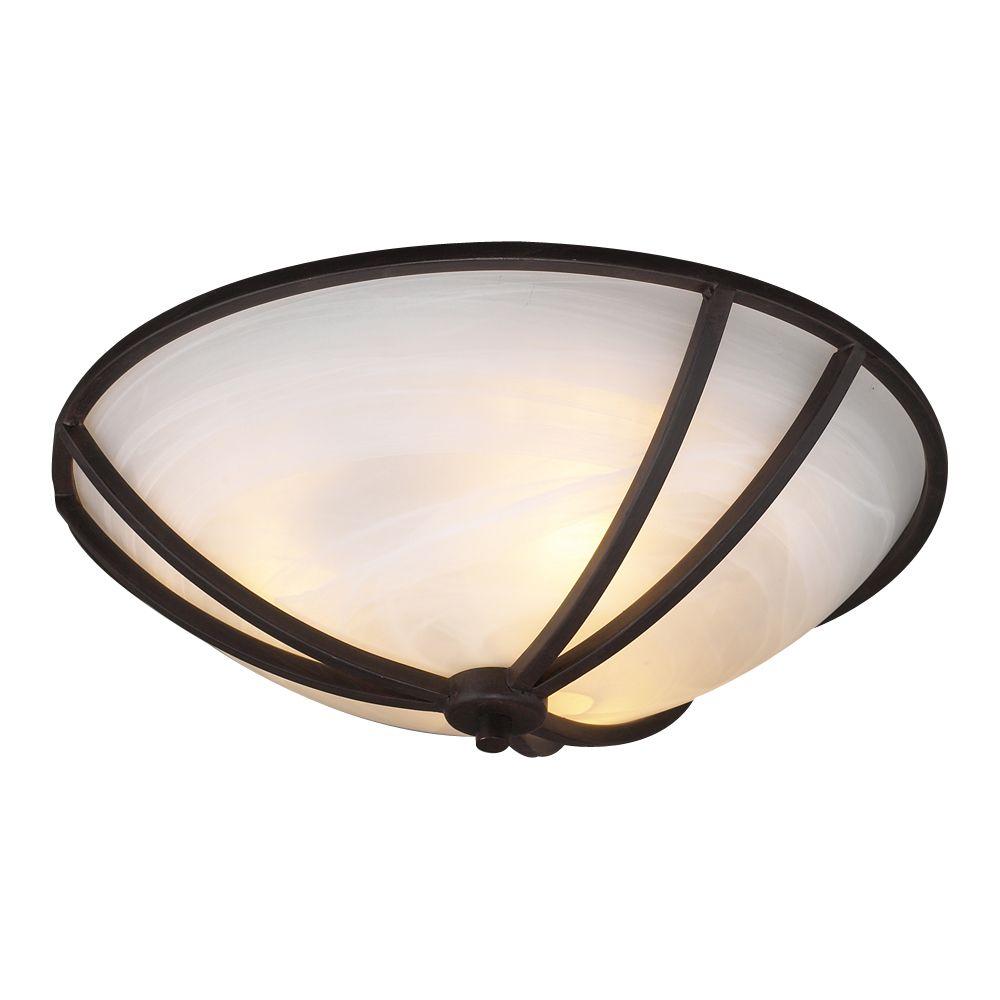Plafonnier à trois ampoules avec abat-jour de spécialité, Fini bronze