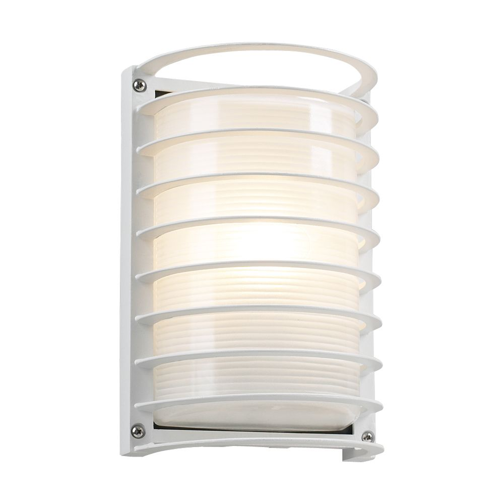 1 Light Outdoor Wall Sconce with Frost Glass and White Finish