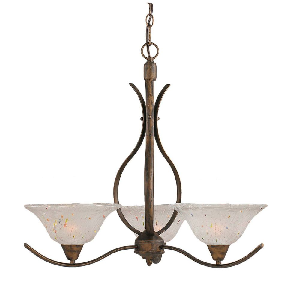 Concord 3 Light Ceiling Bronze Incandescent Chandelier with a Frosted Crystal Glass