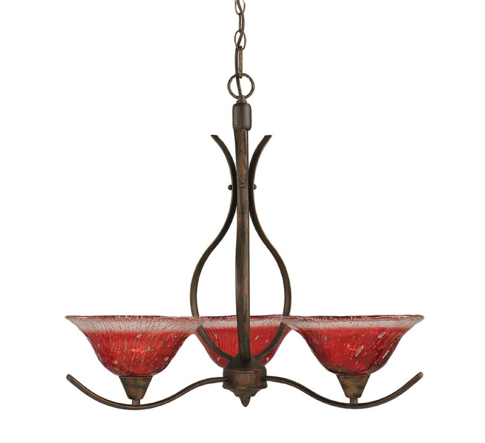 Concord 3 Light Ceiling Bronze Incandescent Chandelier with a Raspberry Crystal Glass