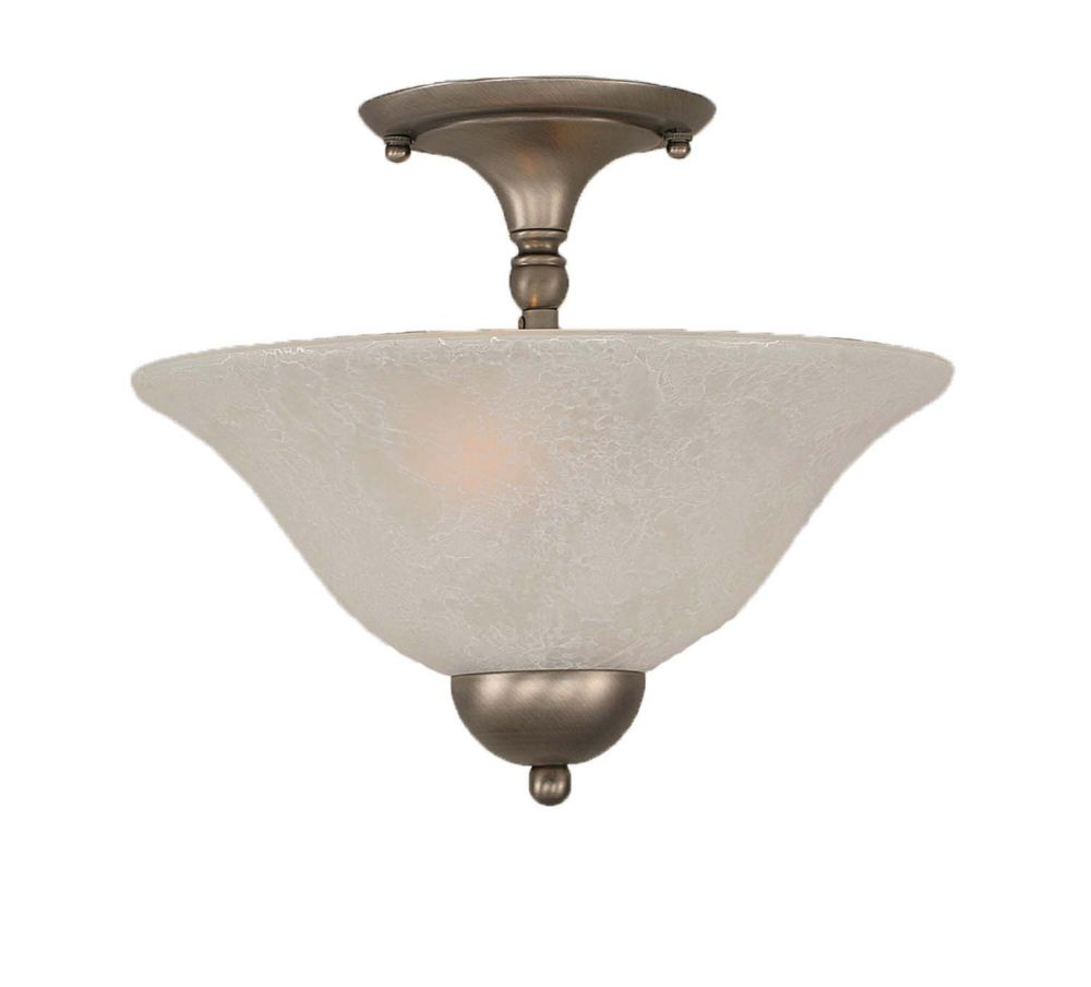 Concord 2 Light Ceiling Brushed Nickel Incandescent Semi Flush with a White Marble Glass