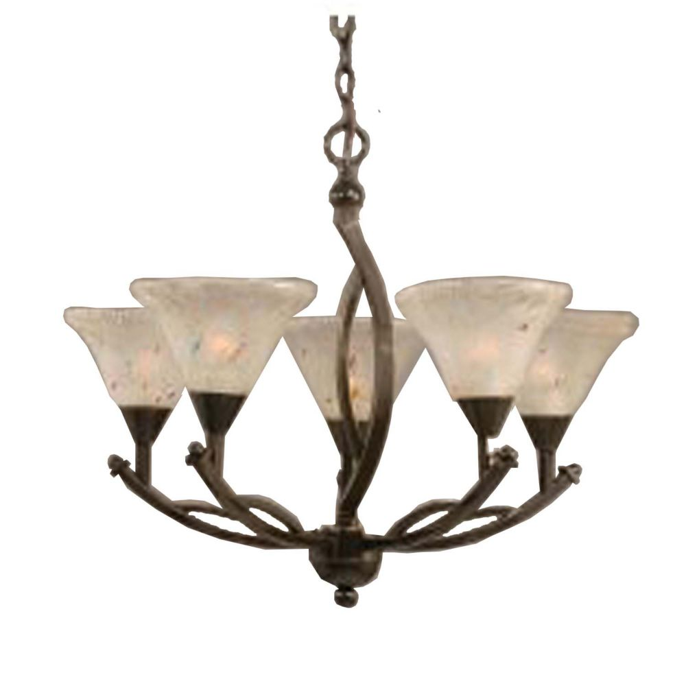 Concord 5-Light Ceiling Onyx Chandelier with a Frosted Crystal Glass