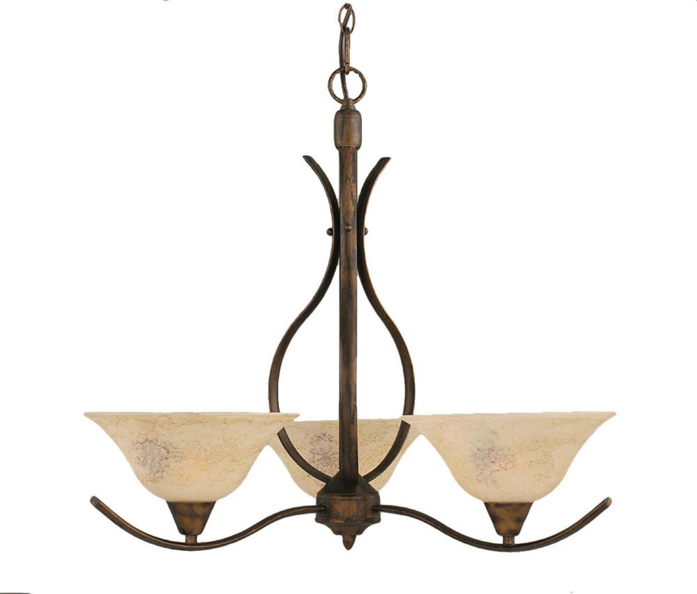 Concord 3 Light Ceiling Bronze Incandescent Chandelier with an Italian Marble Glass