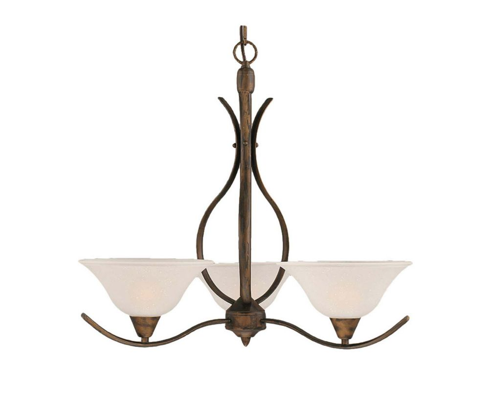 Concord 3 Light Ceiling Bronze Incandescent Chandelier with a Dew Drop Glass