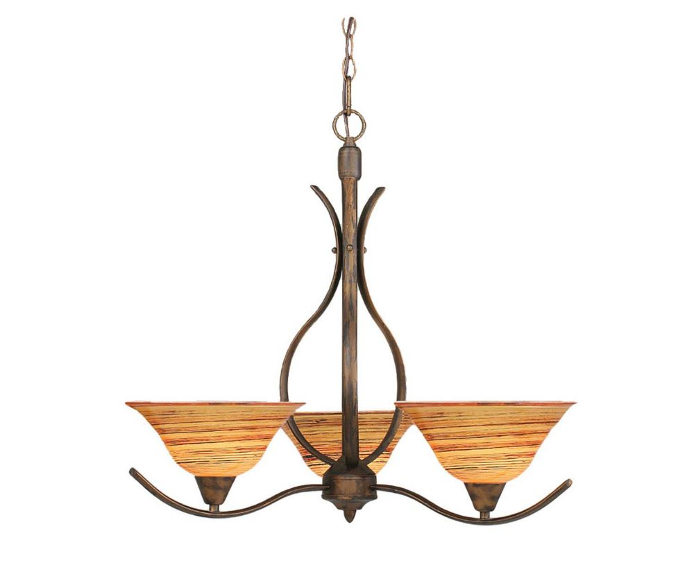 Concord 3 Light Ceiling Bronze Incandescent Chandelier with a Firré Saturn Glass