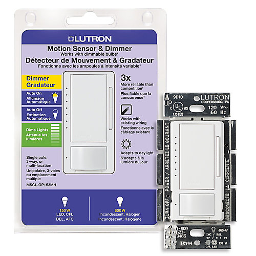 Maestro 150 Watt Single Pole/3-Way CFL/LED Occupancy Sensing Dimmer - White