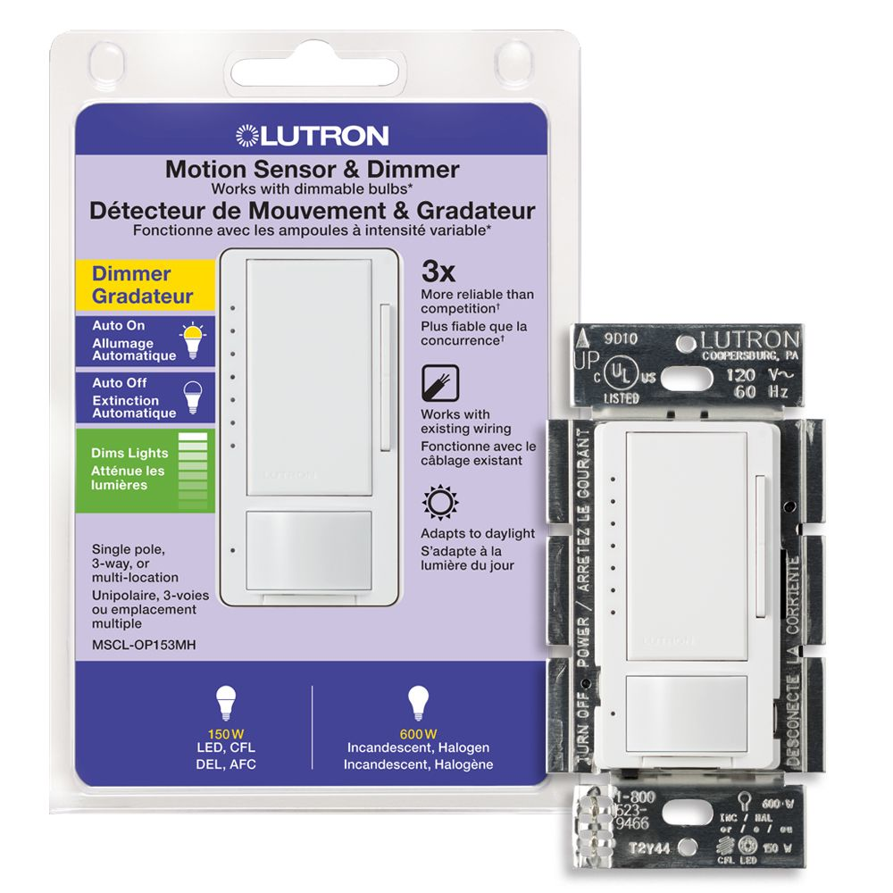 Lutron Maestro 150 Watt Single Pole/3-Way CFL/LED Occupancy Sensing Dimmer - White