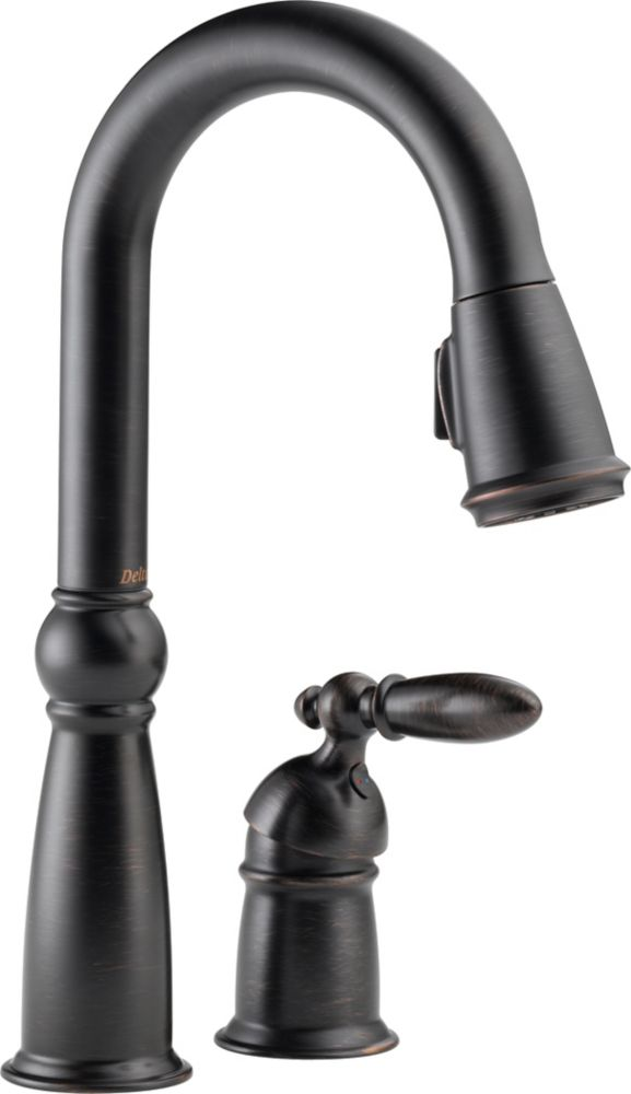 Victorian Single-Handle Pull-Down Sprayer Kitchen Faucet in Venetian Bronze with MagnaTite Docking 9955-RB-DST Canada Discount