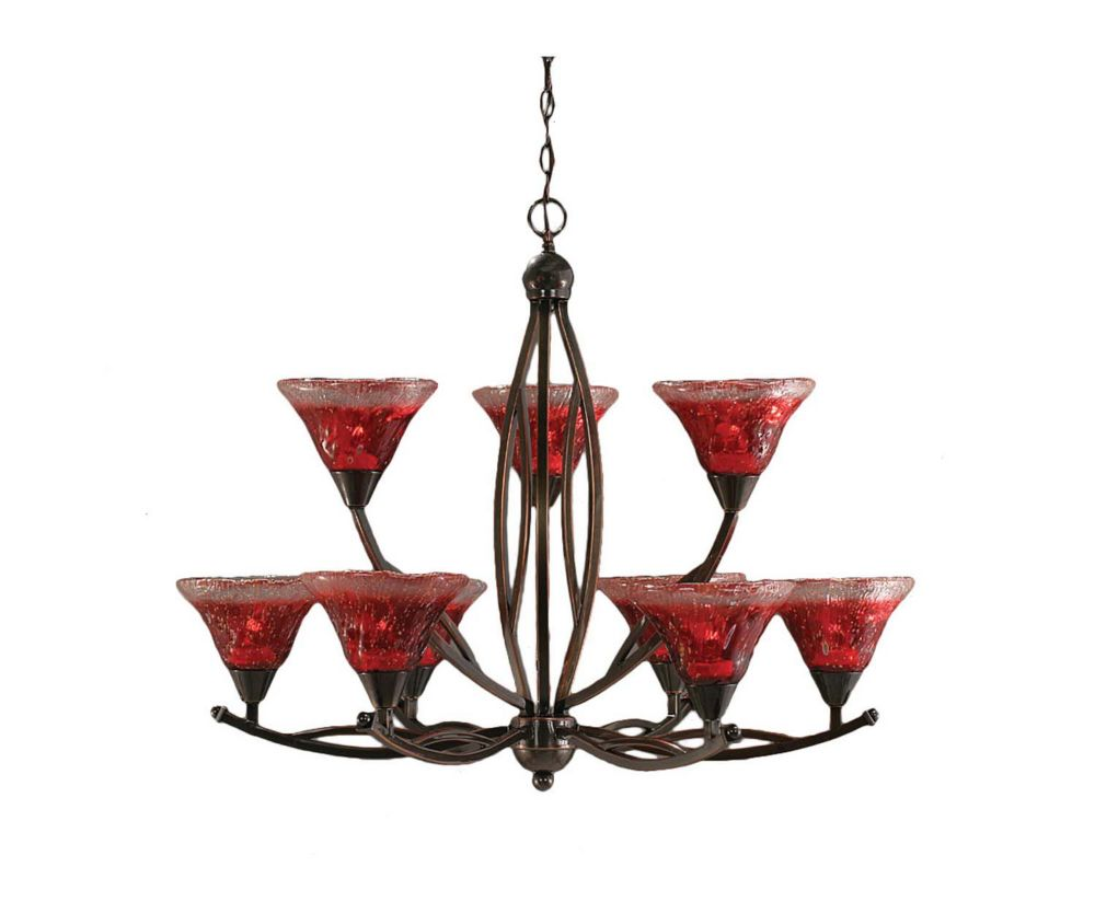 Concord 9-Light Ceiling Black Copper Chandelier with a Raspberry Crystal Glass
