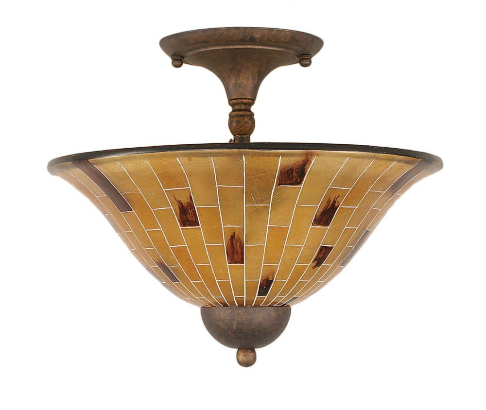 Concord 2 Light Ceiling Bronze Incandescent Semi Flush with a Penshell Resin Glass