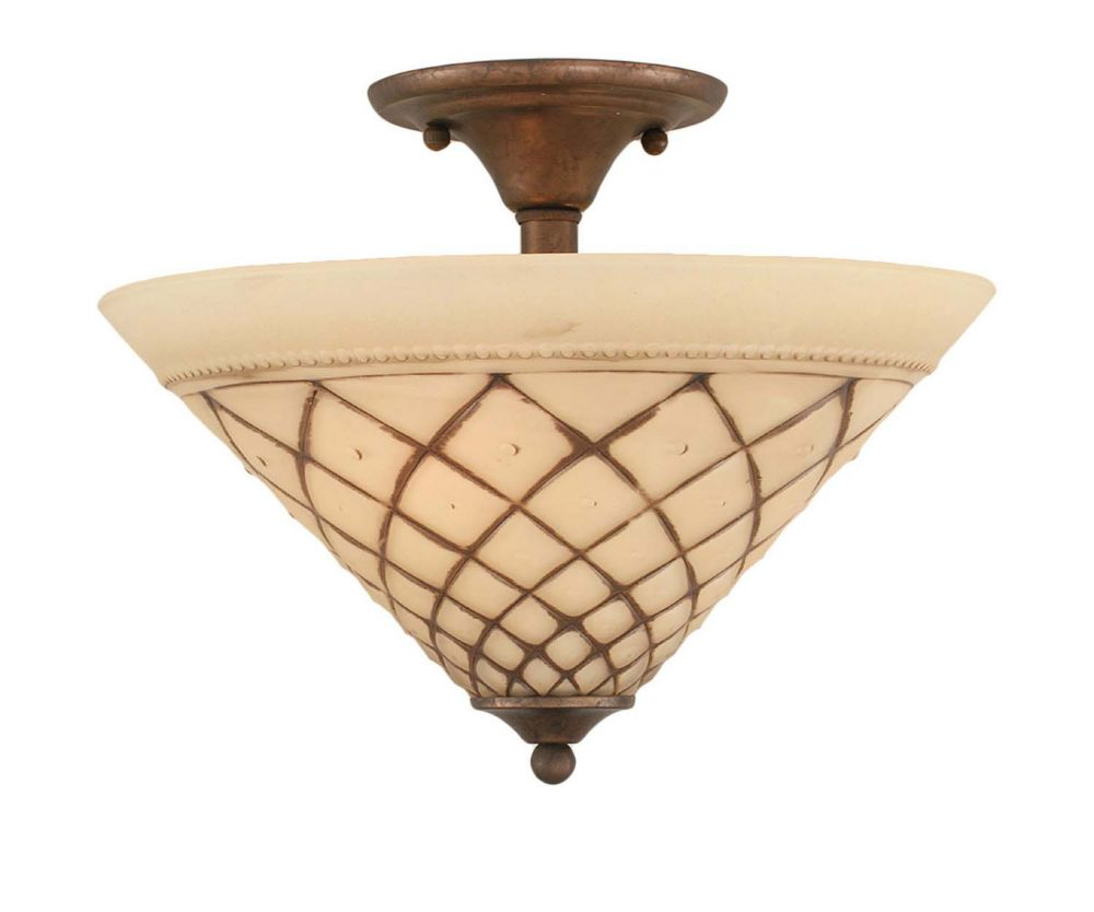 Concord 2 Light Ceiling Bronze Incandescent Semi Flush with a Chocolate Icing Glass