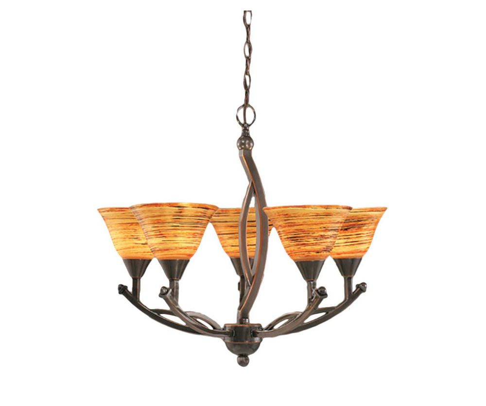 Concord 5 Light Ceiling Black Copper Incandescent Chandelier with a Firré Saturn Glass