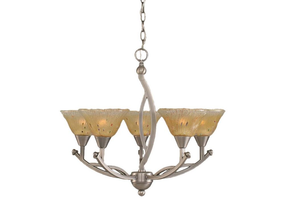Concord 5-Light Ceiling Brushed Nickel Chandelier with an Amber Glass
