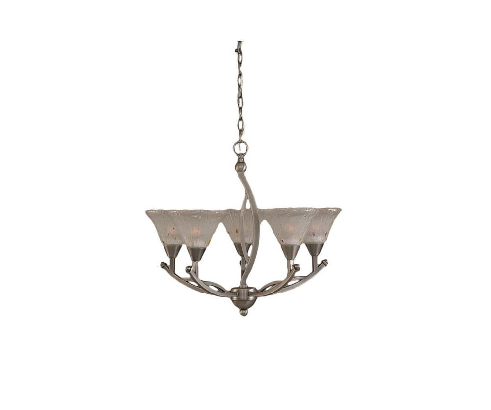 Concord 5 Light Ceiling Brushed Nickel Incandescent Chandelier with a Frosted Crystal Glass
