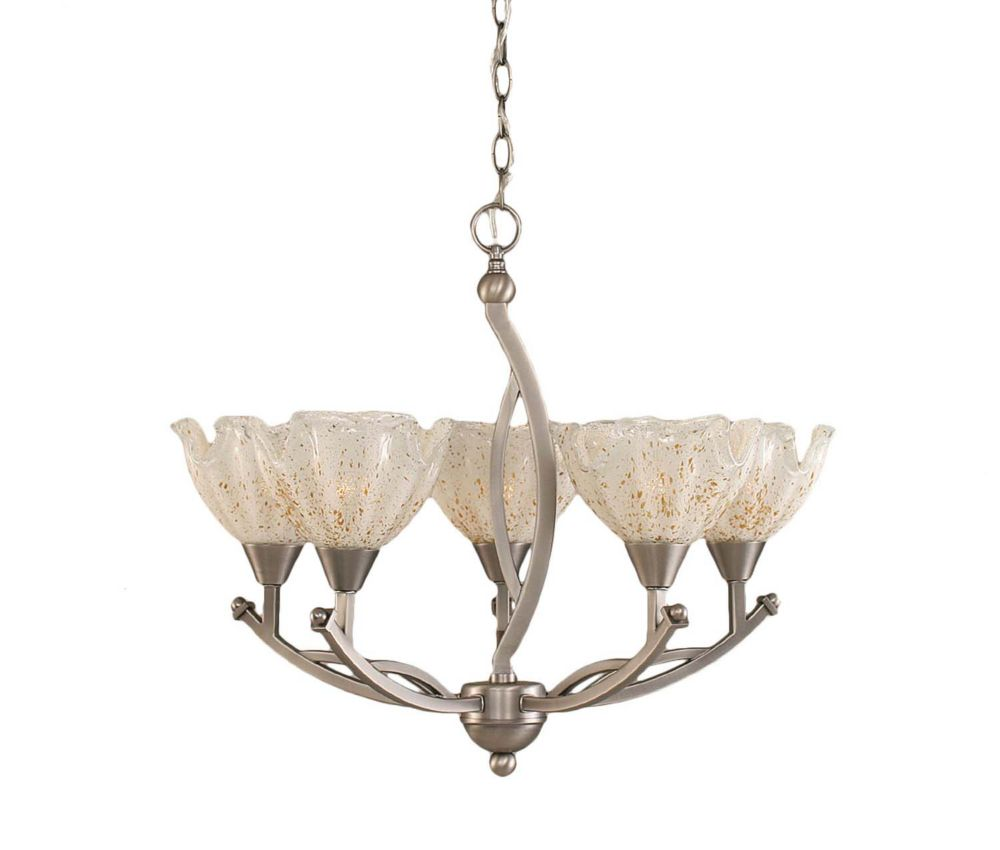 Concord 5-Light Ceiling Brushed Nickel Chandelier with a Gold Crystal Glass