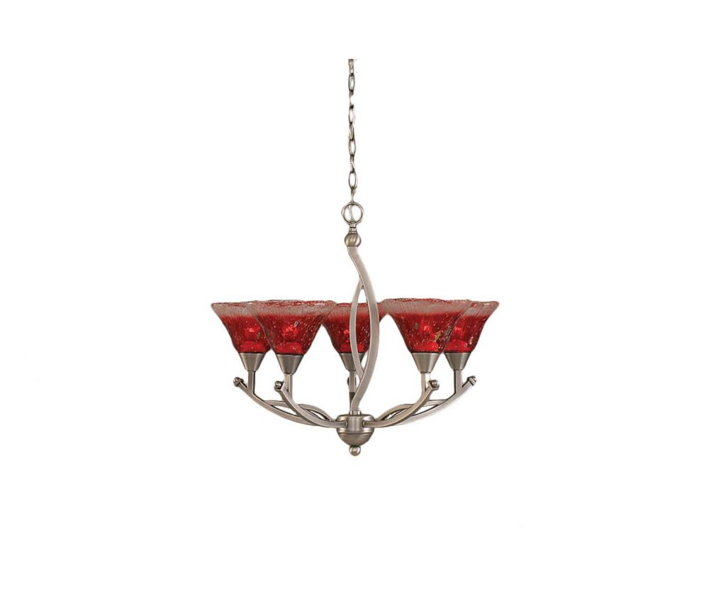 Concord 5 Light Ceiling Brushed Nickel Incandescent Chandelier with a Raspberry Crystal Glass